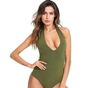 Tops - Women's Sexy Deep V Sleeveless Backless Halter Leo